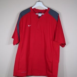 Nike Solid Red Short-Sleeve Windbreaker Shirt
